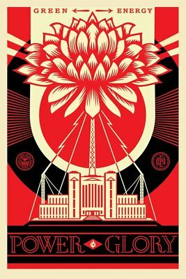 SIGNED! Shepard Fairey GREEN POWER GLORY Print Poster Obey Giant 24x36