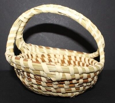 "South Carolina Charleston Sweet Grass Basket w/ Handle 4"" x 4.8"""