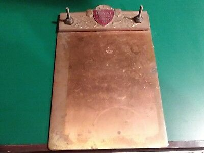 Royal Insurance Company LTD 100 Anniversary Copper & Brass Clip Board / Invoice