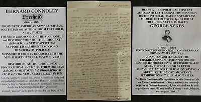 Newspaper Publisher Politician Author Freehold New Jersey Letter Signed Moc 1844