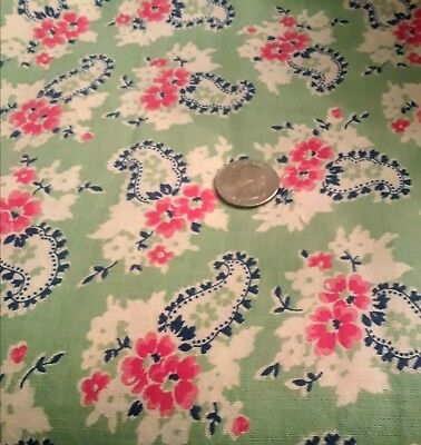 Vintage cotton feedsack blue green red off white flowers & paisley  unopened euc