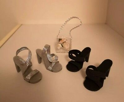 2 Prs Replica 50s High Heel Shoes for CISSY/Miss Revlon/Other Silver Black