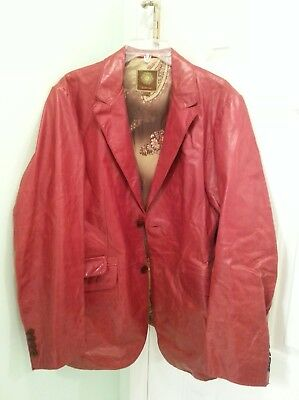 Mens Kuhlman Vintage Distressed rust colored  Leather Jacket - US Size 4 (XL)