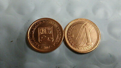 VENEZUELA, 1 CENTIMO 2007 x 5 UNCIRCULATED COINS, FREE SHIPPING