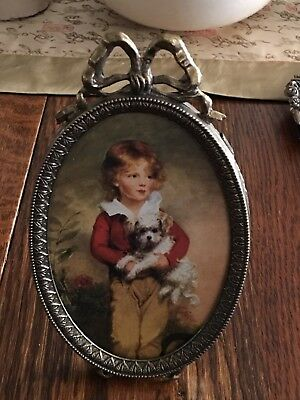 Vtg Smal Ornate Oval Brass Picture Frame w Easel of a BOY w DOG Made in ITALY