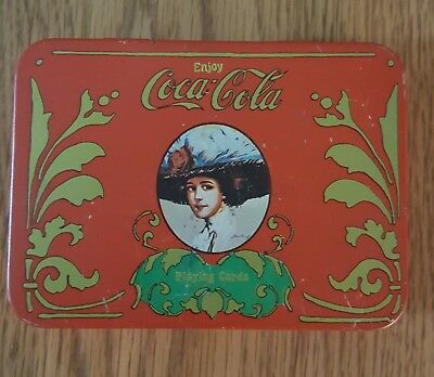 Vintage Coca-Cola Victorian Lady Tin 2 Decks Of Playing Cards Pad Pencil