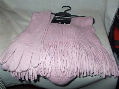 Florence + Fred warm pink scarf and gloves set - ideal Christmas gift - new