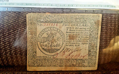 Sep 26, 1778 $5 Dollar Us Continental Currency Thorn Note Very Fine Plus Genuine