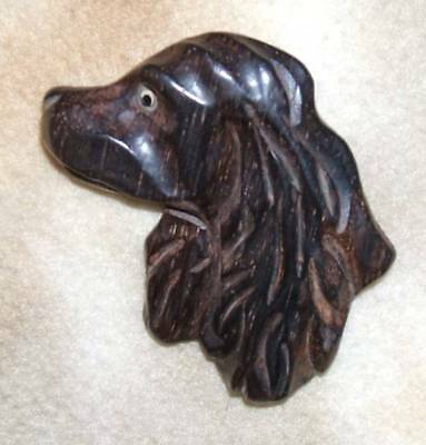 Beautiful Vintage Cocker Spaniel Hand Carved Pin