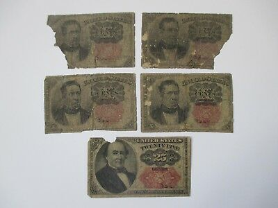 Lot Of 5 Fractional Currency Notes
