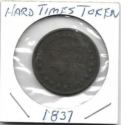 "1837 Hard Times Token ""Not One Cent For Tribute"""