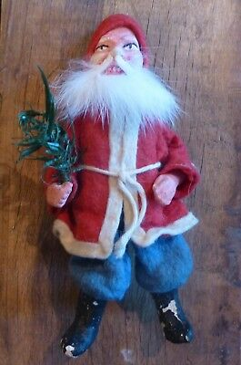 Antique German Santa Claus Candy Container Christmas Feather Tree Composition
