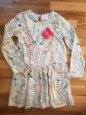 Nwt Hanna Andersson Ecru Garden Smocked Floral Flora Dress 120 6 7 New! $49