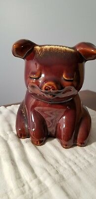 Vintage HULL Pottery sitting CORKY PIG piggy bank mirror brown foam w/stopper