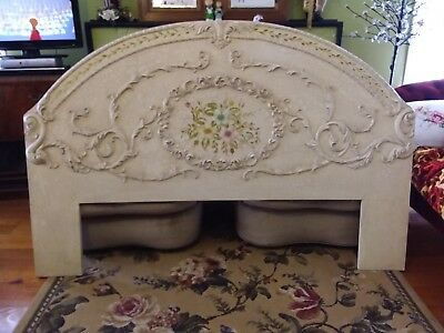 QS Vintage Style Bed Head Ornate Hand Painted Flowers queen size
