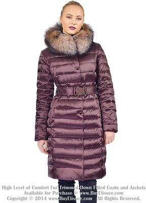 Goose Down Coat Jkt w/ Crystal Fox Real Fur sz M / US 8 EU 40 $895 Пуховик Лиса