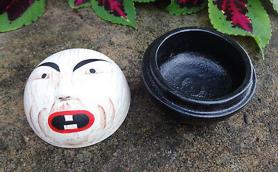 Handpainted Lacquerware Open Salt Dip, Cellar, Dish w/Mask Face!