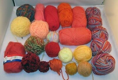 Assorted Worsted Weight Acrylic Skeins & Balls Yarn Lot in Orange Coral Rust Yel