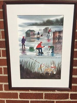 Ice Fishing Signed and Numbered Print by Michigan artist Kathy Philips
