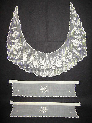 LP27 Antique Victorian Fashion Collar Cuff 3pc embriodery Lace Bridal Applique