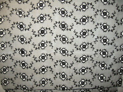 LP63 Vintage Black Lace Crochet Fabric Doll Fashion Clothing Applique 12X17""