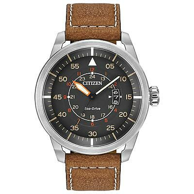 Citizen Men's Eco-Drive Brown Leather Strap Watch with Date, AW1361-10H NEW