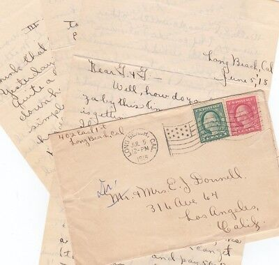 Long Beach, California 1918 WWI Letter-Did Ed Join the Army? & APMC Flag Cancel