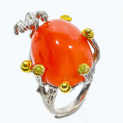 Mandarin color 20ct Natural Carnelian 925 Sterling Silver Ring Size 6/R48466