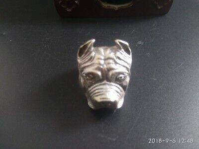 COLLECTIBLE Tibetan silver old hand made Chinese dog's head statue finger ring R