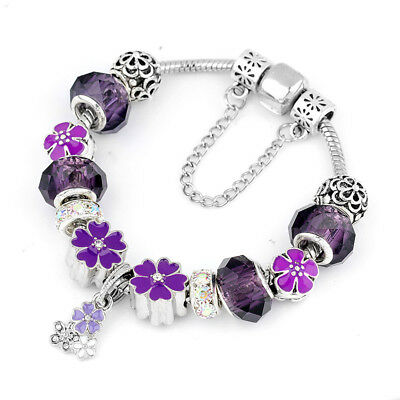 Vintage Silver Women's Charm Bracelet Purple Flower Charms Bangle Gifts Jewelry