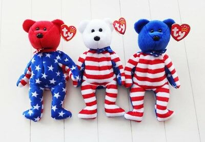 TY Beanie Babies - LIBERTY BEARS - All 3 - Red, White & Blue Heads