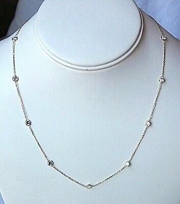 Station Necklace Bezel Set CZ Sterling Silver 16 Or 18 inch Chain Quality