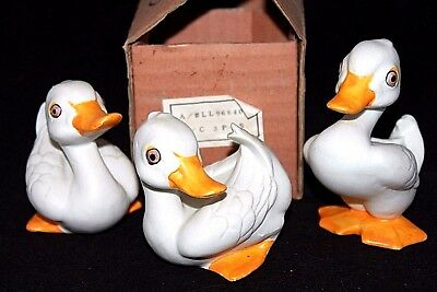 "VINTAGE Set of 3 ""Daffy Ducklings"" Bisque Porcelain Ducks, KOREA, 3-3 1/2"" MIB"