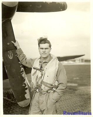 Org. Photo: 339th Fighter Group Pilot Posed w/ His P-51 Fighter Plane (#1)!!!