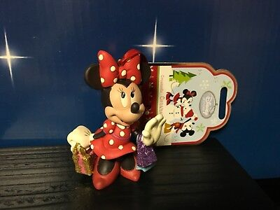 Disney Store NIB Minnie Mouse Shopping With Shimmering Bags Christmas Ornament