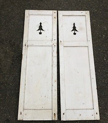 Matching Pair Of Antique / Vintage White Shutters With Christmas Tree Cut Outs