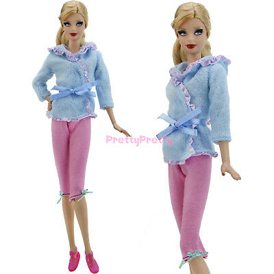 Towel Hooded Pajamas Pants Flat Sandals Outfit Clothes For Barbie Doll Accessory