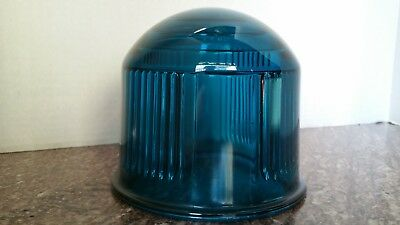 Rich Teal Blue Pyrex Lights Inc. Large Glass Airport Runway Direction Light