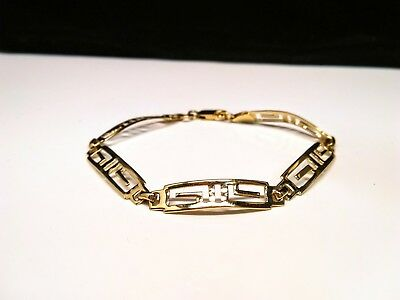 14 Gold Plated 925 Sterling Silver Roman Style Chain Link Bracelet