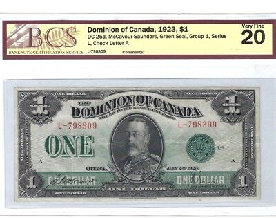 1923 $1 Dominion of Canada, Green Seal, Group 2               BCS 20 Very Fine