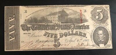 1863 $5 Confederate States of America Currency T-60 Very Fine CSA Note