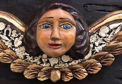 "Carved Wood Angel With Charms - Mexican Milagros - 14""W Hanging Cherub Folk Art"