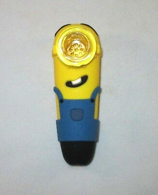 "Silicone 4"" Pipe Minion Tobacco Pipe Glass Bowl"