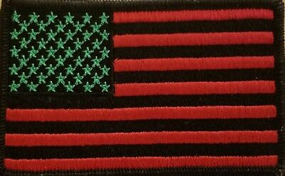 United States USA Flag Patch W/ VELCRO® Brand Fastener  Red, Green & Black