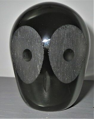 WHITEFRIARS 60/70's LEAD CRYSTAL OWL -DESIGNED BY GEOFFREY BAXTER - SILVER/GREEN