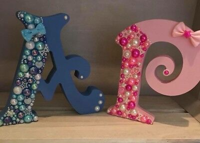Handmade Be-jeweled Wooden Letters, New Baby Gift, Presents, christening