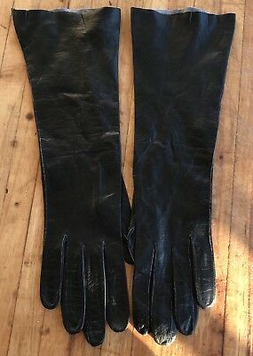 Kid Leather Gloves Long Black Mid Arm Length Holiday Party Glam Evening Wear