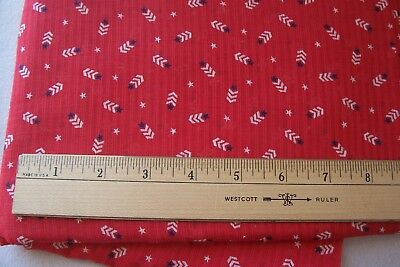Vtg Antique WWII 1940's 100%  Cotton Fabric Dimity Red White & Blue Patriotic