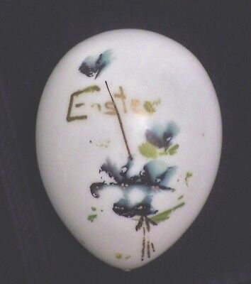 Vintage Milk Glass Easter Egg Large Size Hand Painted 5 Inch Long Victorian