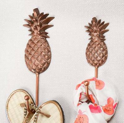 Copper Bronze Pineapple Cast Wall Hooks Coat Scarf Accessory Door - Bombay Duck